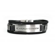 Pulseira Vegano Shoes Fé Força Coragem 810R cordão Preto/aço