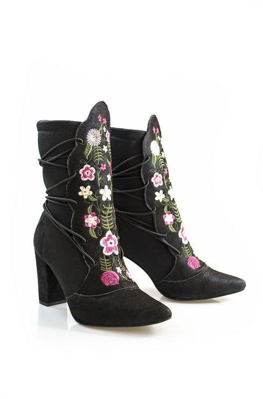 Bota Vegano Shoes Kinkan Preta/floral