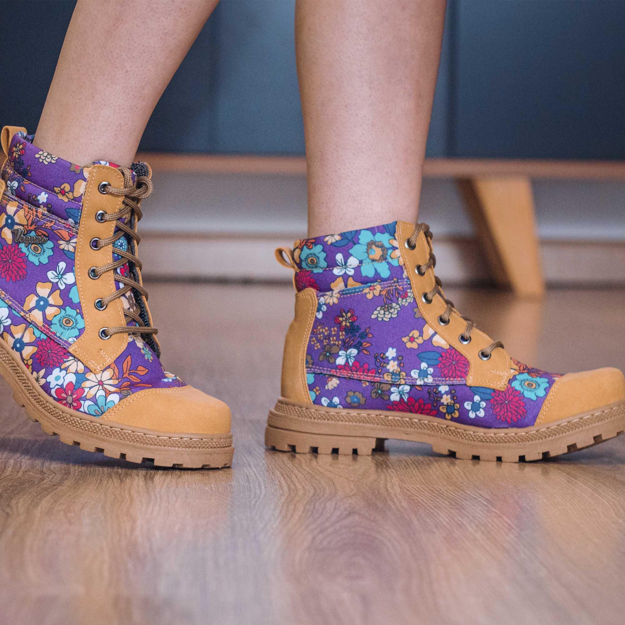 Bota Vegano Shoes Naturale Floral Roxo