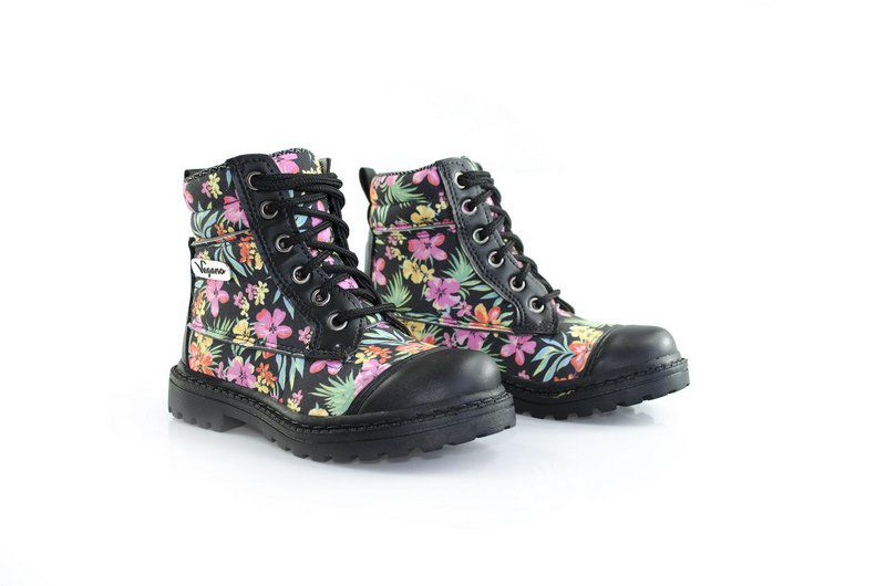 Bota Vegano Shoes Naturale Kids Floral Preta