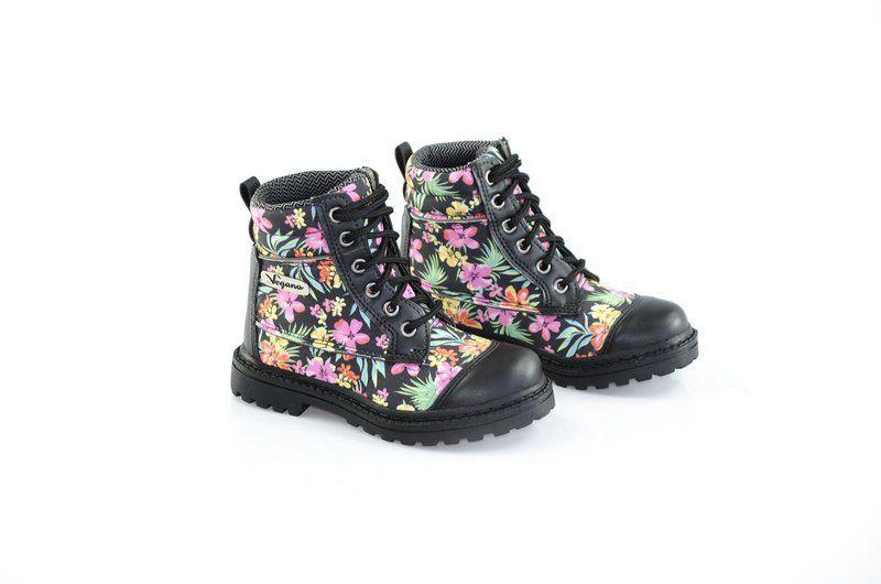 Bota Vegano Shoes Naturale Kids Floral Preta