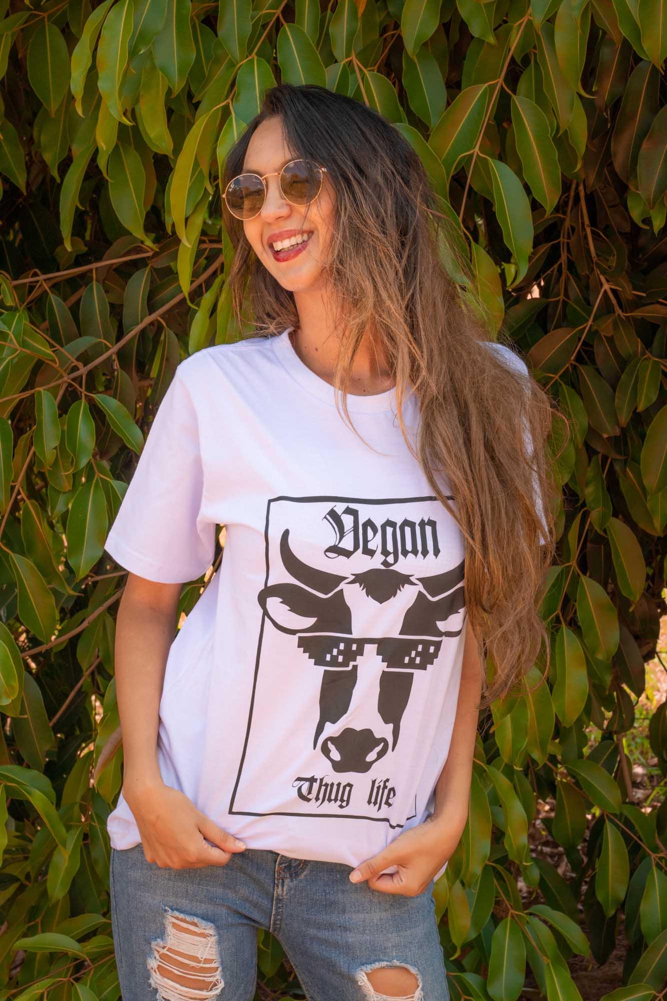 Camiseta Vegan Thug Life - Algodão orgânico