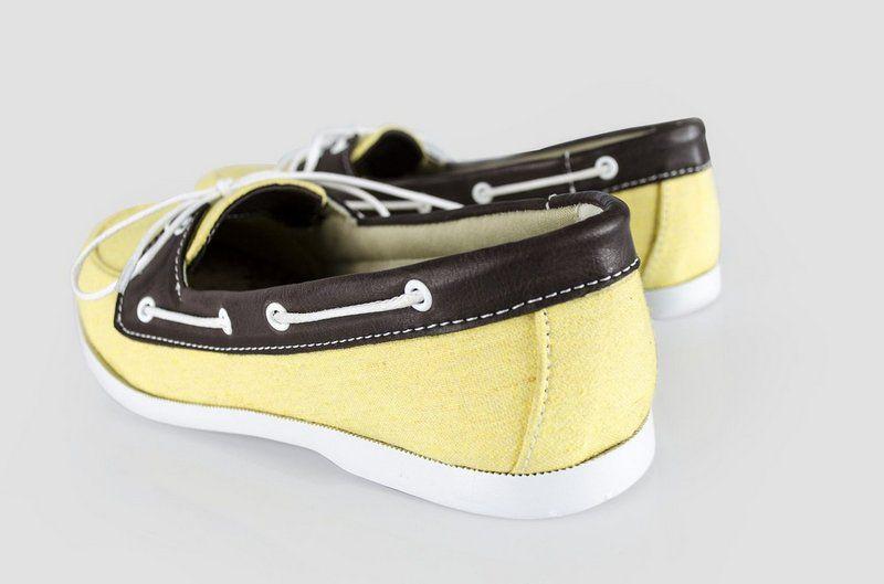 Dock side Vegano Shoes Janaína Mineta Amarelo/marrom