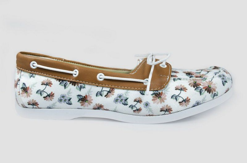 Dock side Vegano Shoes Janaína Mineta Floral/Caramelo
