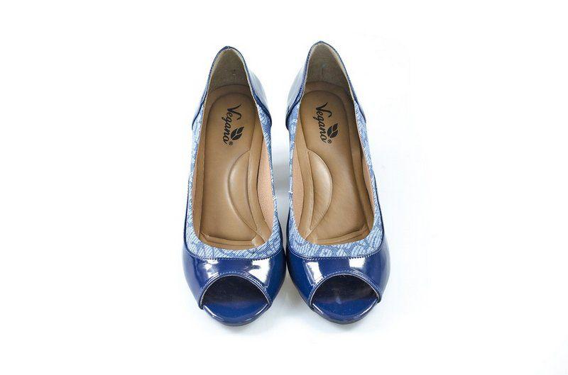 Peeptoe Vegano Shoes Conforto Caeté Azul