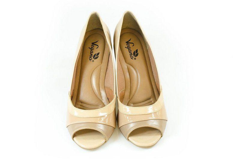 Peeptoe Vegano Shoes Conforto Caeté Nude