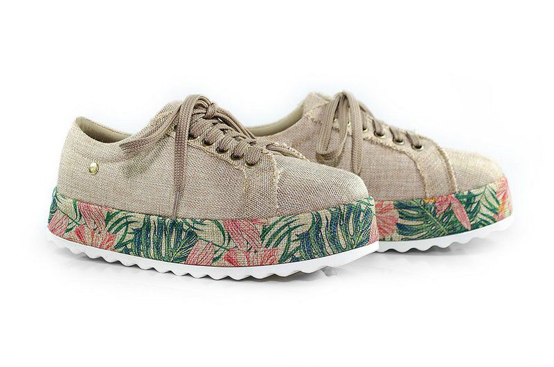 Tênis Flatform Vegano Shoes Helicônia nude/floral