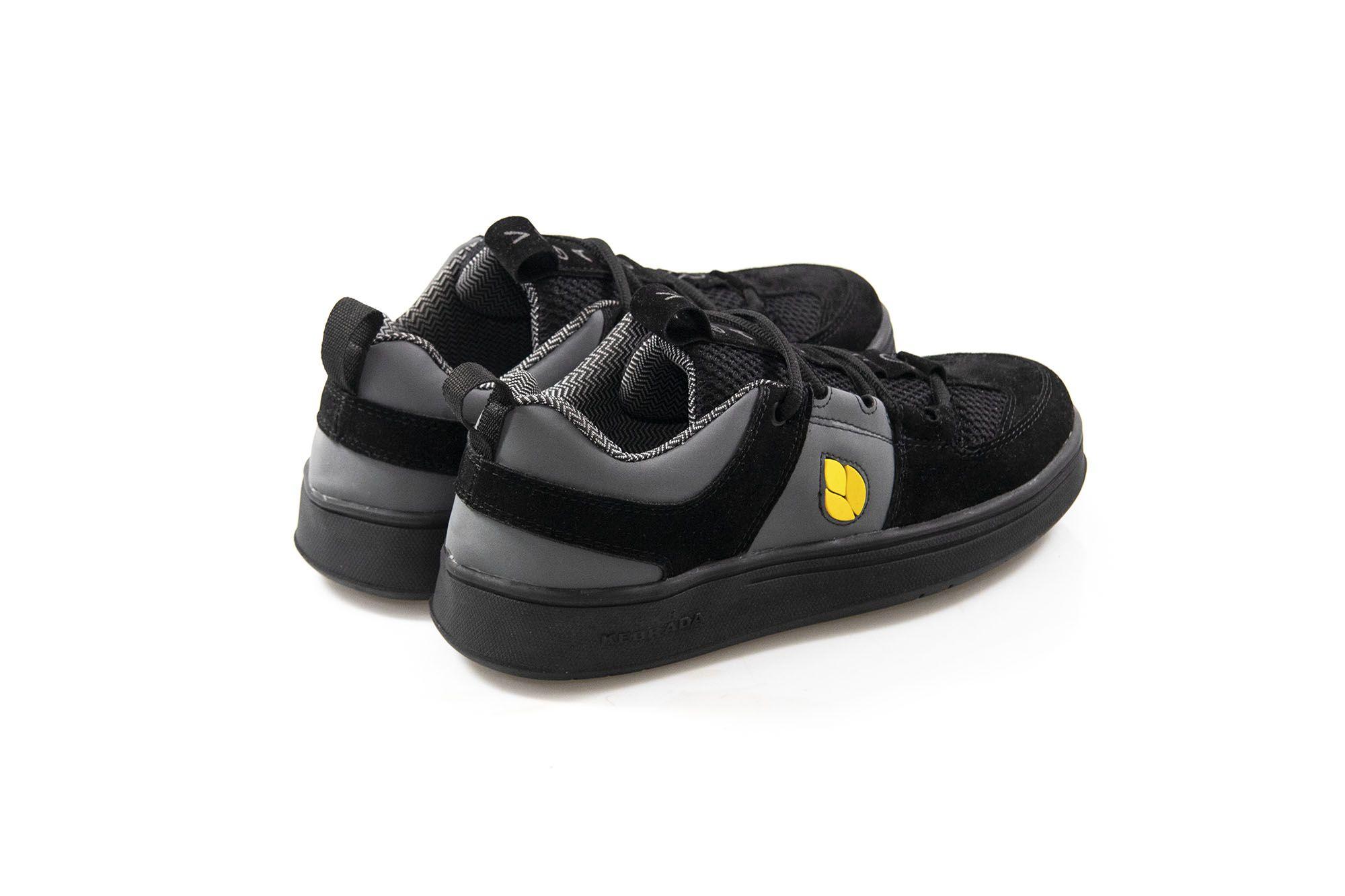 Tênis Vegano Shoes SK8 Kebrada - Preto/Cinza com Amarelo