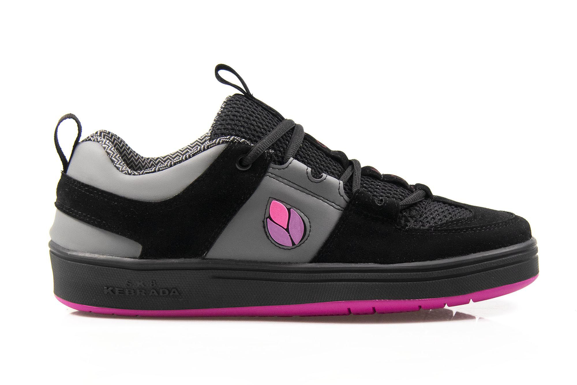 Tênis Vegano Shoes SK8 Kebrada - Preto/Cinza com Rosa