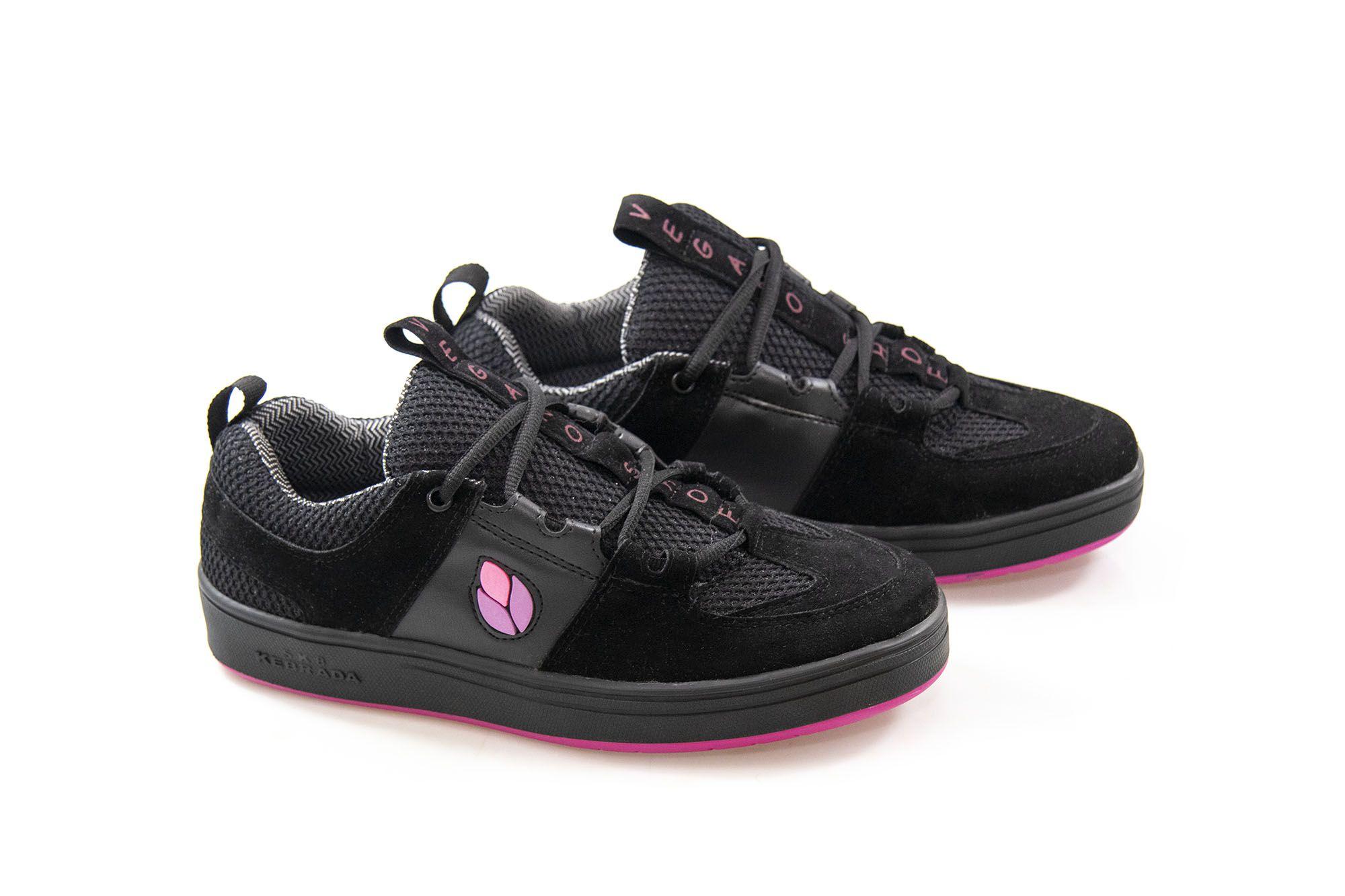 Tênis Vegano Shoes SK8 Kebrada - Preto com Rosa