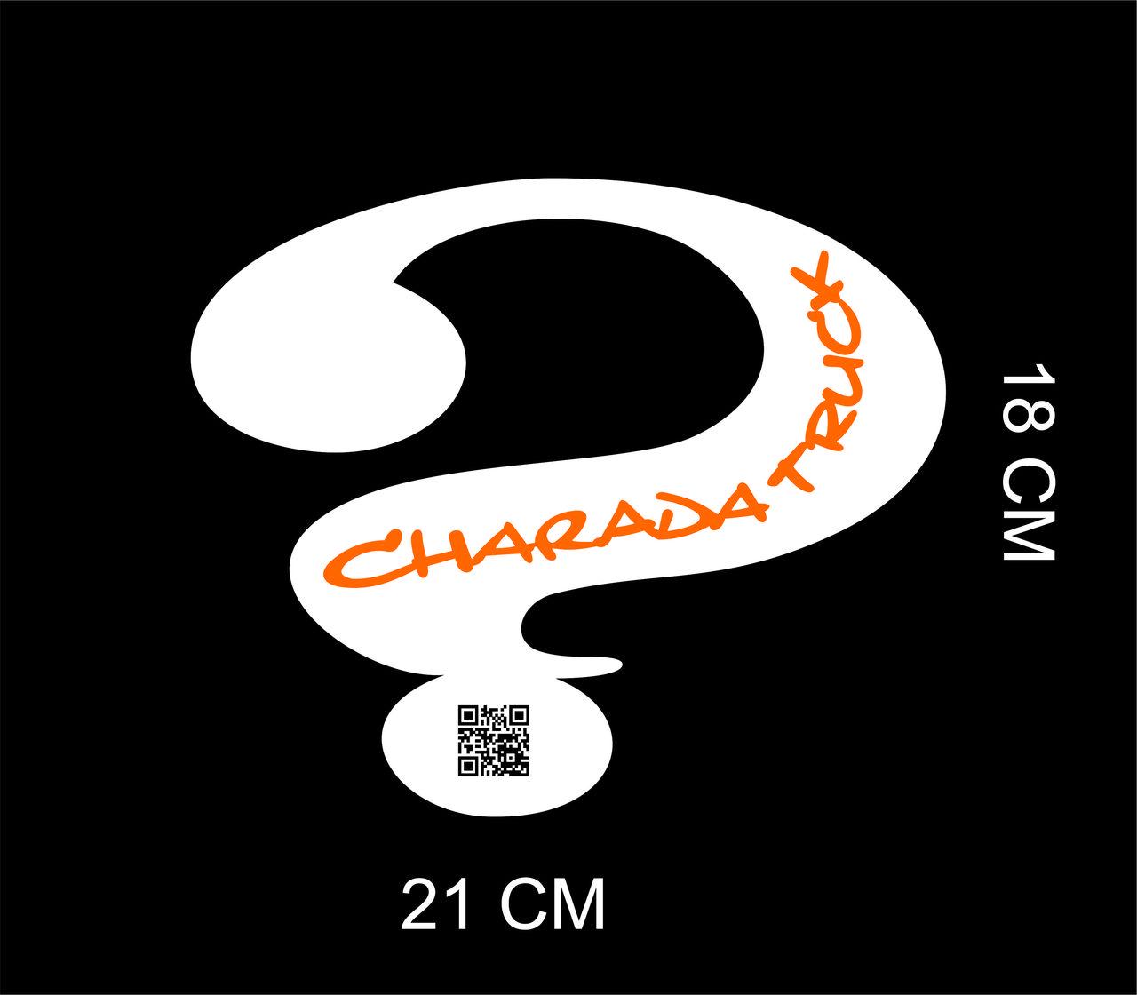 Adesivo Charada Interrogação  QR CODE 18x21cm - BRANCO C/ NOME LARANJA