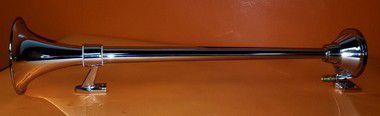 Buzina Marítima CHARADA em Alumínio Cromada 74cm + Suportes de Fixação em Inox SCANIA 124 com e sem Rack ou Defletor (Par)