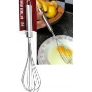 Batedor de ovos fouet profissional prateado de aço inox 29cm fue