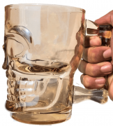 Caneca caveira ambar de vidro Chop 500mL copo de vidro cerveja dourada