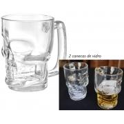 Caneca caveira Transparente de vidro Chop 380mL copo de vidro cerveja 2 unidades