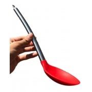 Colher de silicone arroz grande para servir inox vermelha 34cm utensílio de cozinha