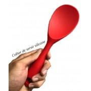 Colher de silicone para servir arroz grande vermelha alta qualidade 23cm uni