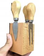 conjunto para queijos e frios faca cortardor de queijo com suporte magnetico