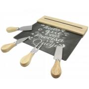 conjunto para queijos madeira e aço inox com petisqueira tábua de vidro com barra magnética cinza