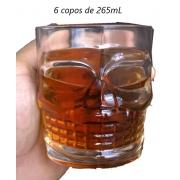 Copos caveira de whisky caipirinha 6 unidades vidro luxo 265mL copo para uisque bebidas