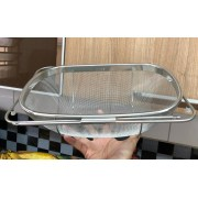 Escorredor de arroz inox macarrão com alça peneira de cozinha coar e escorrer 34x24x11cm