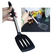 Espátula de silicone cozinha chapeiro lanches vazada fritura preta 35cm utensilio