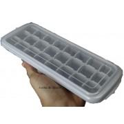 forma de gelo papinha de silicone 24 cubos cinza com tampa