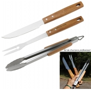 kit de churrasco 3 peças jogo faca garfo e pegador de carnes acessórios para churrasco aço inox e madeira de acácia