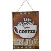 Placa decorativa retrô vintage de café 40 x 28 cm