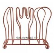 Porta guardanapo de mesa cozinha rose bobre de metal cromado 10x4x8 cm