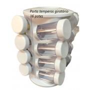 Porta organizador de temperos cozinha pote condimentos 16 potes suporte giratório