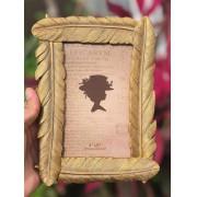 Porta retrato dourado foto 10x15 plumagem luxo decoração mesa sala