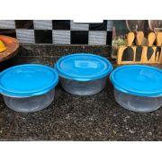 potes de plastico para alimentos mantimentos 3unid 1,3 Litros