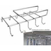 Suporte de xícaras porta utensílios para armários em aço cromado 10 ganchos xicaras