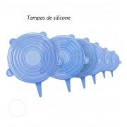 Tampas de silicone reutilizáveis 6 tamanhos livre de BPA azul