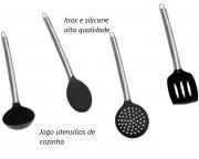 Utensílios de cozinha preto kit 4 unidades silicone e aço inox colher concha espatula escumadeira