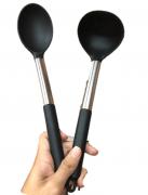 Utensílios de cozinha servir preto kit 2 unidades silicone e aço inox colher concha