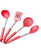 Utensílios de cozinha silicone kit4 unidades silicone inox colher espatula escumadeira concha