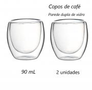 Xícara de café 2 unidades parede dupla camada de vidro 90mL copo de café luxo