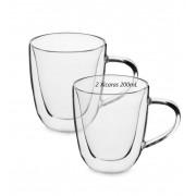 Xícara de café vidro 2 unidades parede dupla camada de vidro 200mL copo de café luxo
