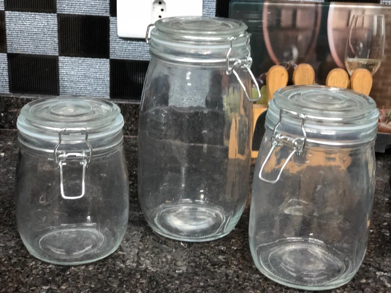 potes de vidros com tampa hermética 3 unidades