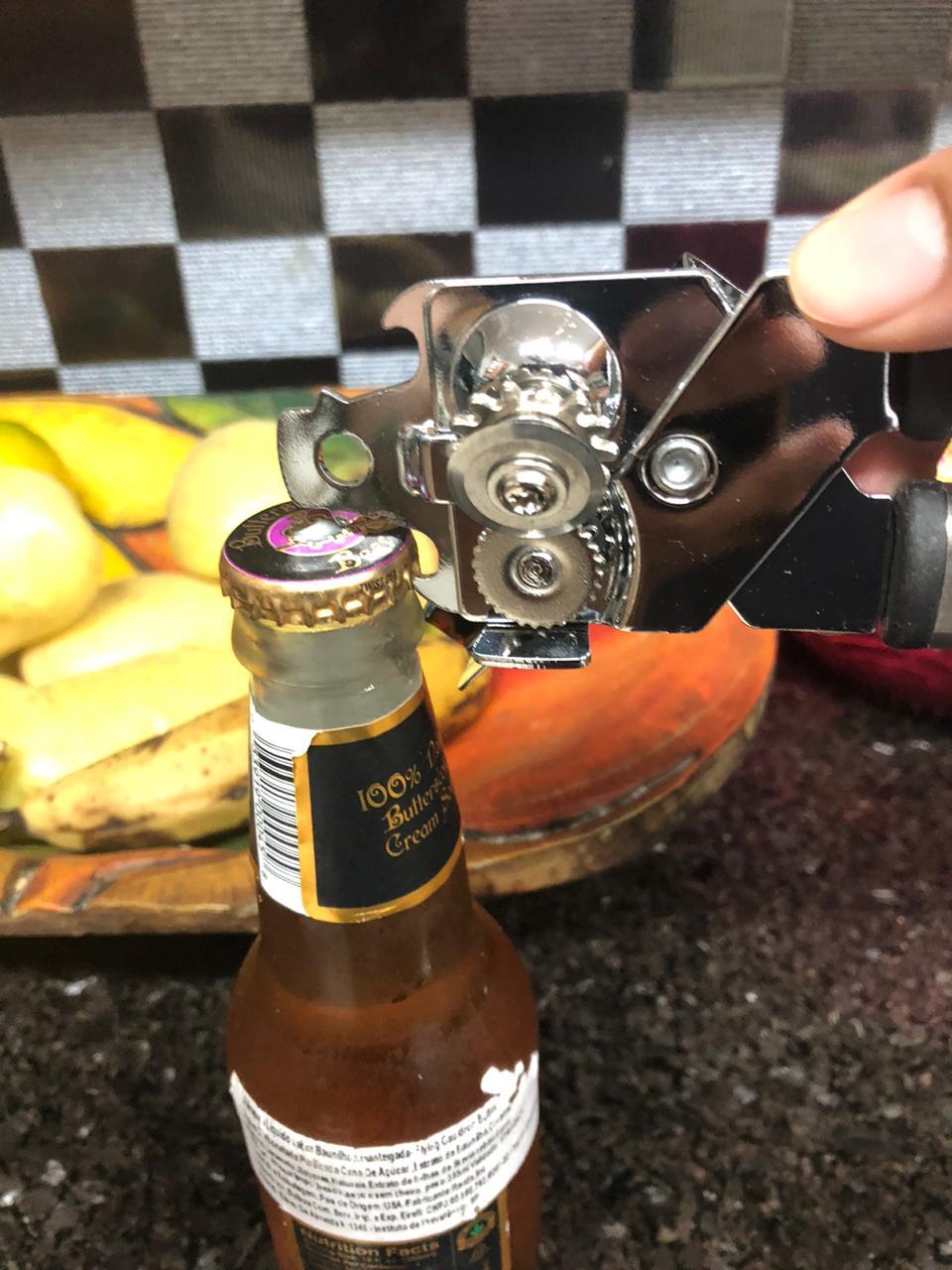 Abridor De Latas cerveja garrafa multifuncional manivela Profissional Inox Sem Rebarbas
