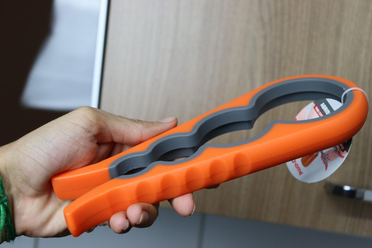 Abridor de tampa frascos e potes abre fácil tampas 4 tamanhos 22cm laranja
