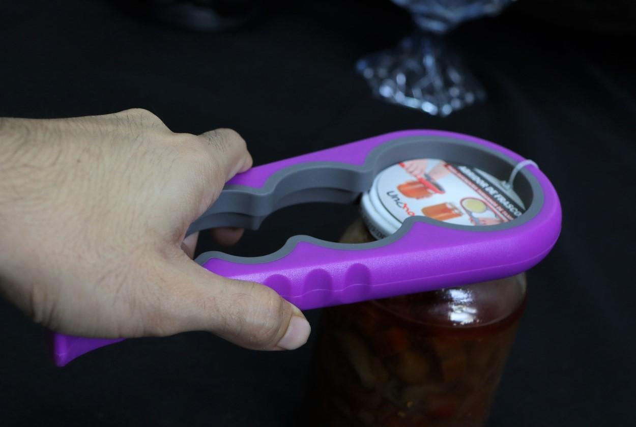 Abridor de tampa frascos e potes abre fácil tampas 4 tamanhos 22cm roxo