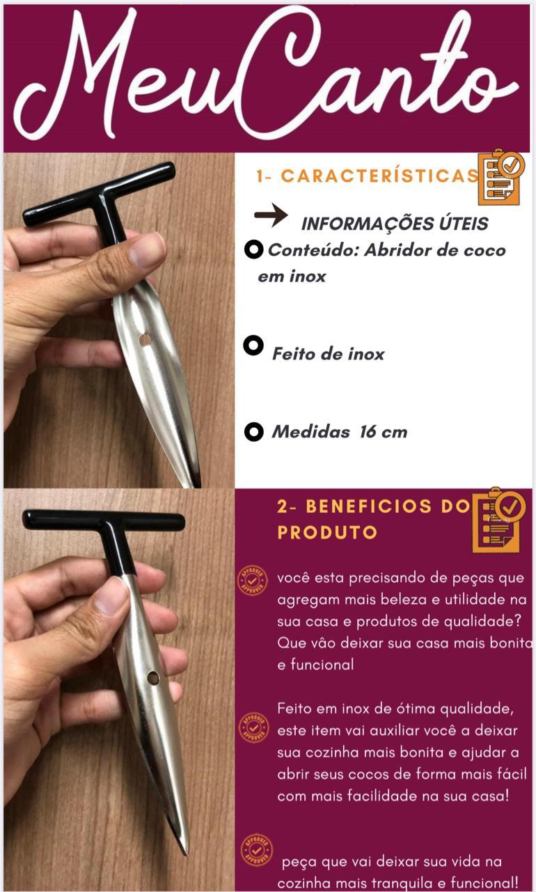 Abridor furador de coco manual facil profissional aço inox mimostyle