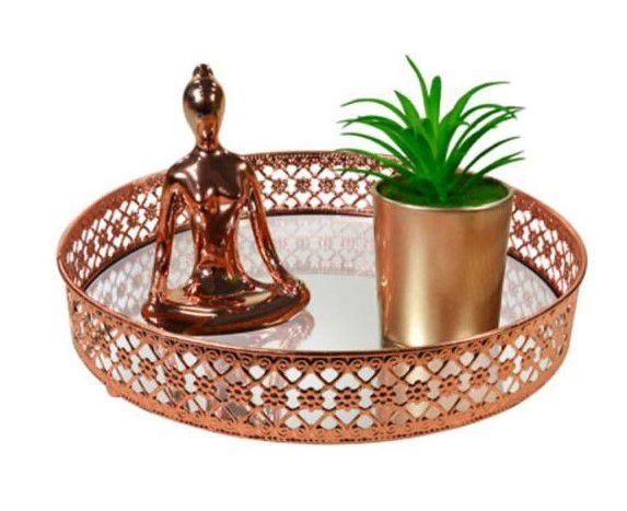 Bandeja decorativa espelhada lavabo metal cor cobre 25 x 5 cm