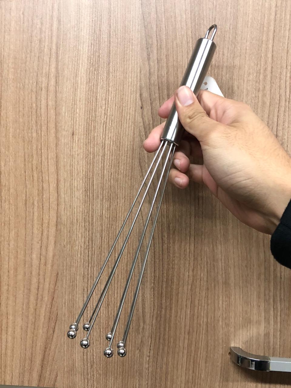 Batedor de ovos fouet cozinha profissional para emulsão prateado de aço inox 30cm