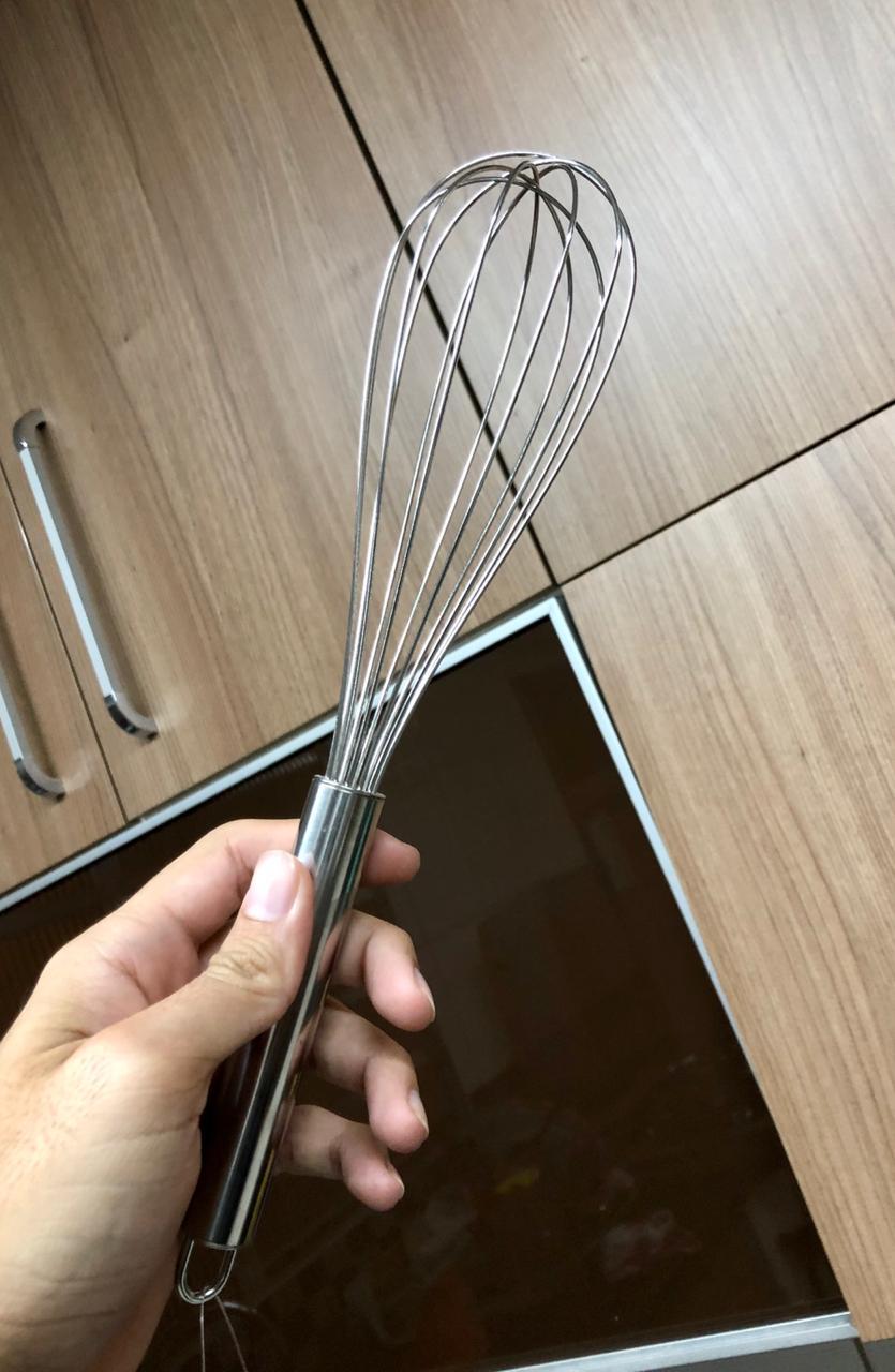 Batedor de ovos fouet profissional prateado de aço inox 27cm MimoStyle