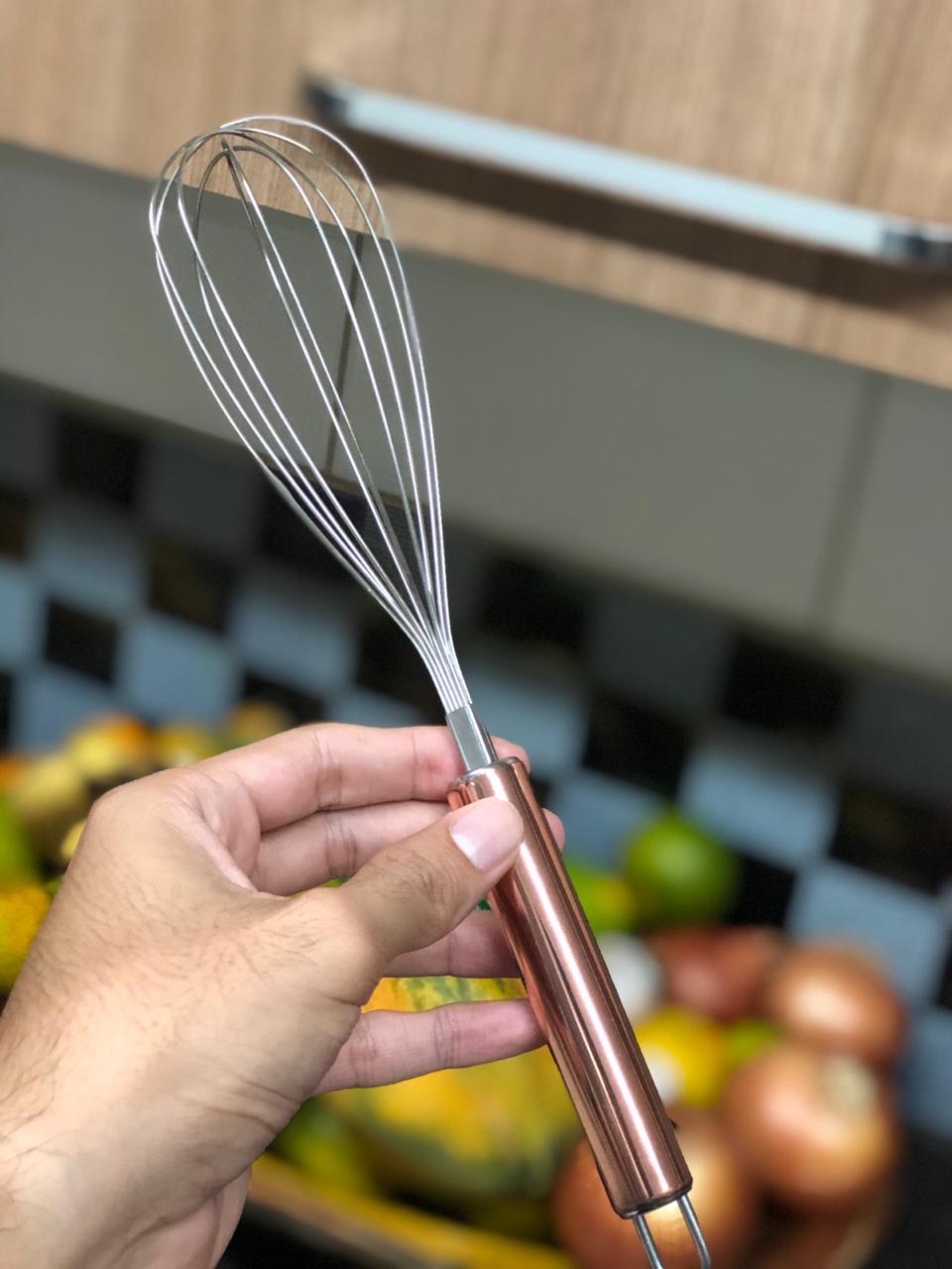 Batedor de ovos fouet rose cobre de aço inox 26 cm MimoStyle