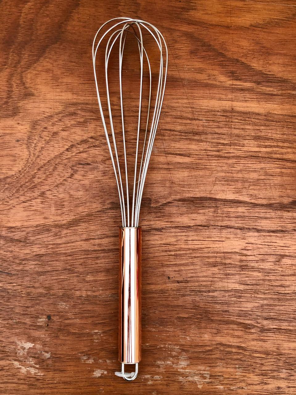 Batedor de ovos fouet rose cobre de aço inox 27 cm MimoStyle
